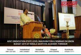 APAT orientation-state level inauguration&seminar on Union Budget 2019 at kerala Sahithya Academy,Thrissur
