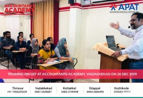 Successful completion of GST Training. Training on GST at Accountants Academy, Vadakkekad on 26th December.