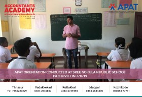 If you can do it today, don't wait up till tomorrow. APAT Orientation conducted at Sree Gokulam Public School Pazhuvil on November 7th.