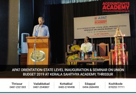 APAT orientation-state level inauguration&seminar on Union Budget 2019 at kerala Sahithya Academy,Thrissur