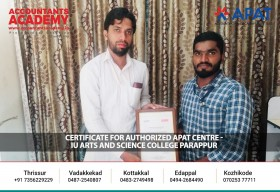 Certificate for Authorised APAT Center. We appreciate the efforts taken by the educational institutions, for the successful execution of APAT(Accounting Practical Aptitude Test)