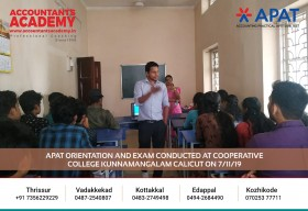 Success doesn't come to you! You have to chase after it. APAT Orientation and Exam conducted at Cooperative College Kunnamangalam Calicut on 7th November.