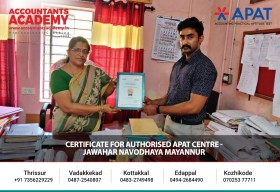 Certificate for Authorised APAT Centre. We appreciate the efforts taken by the educational institutions, for the successful execution of APAT(Accounting Practical Aptitude Test)