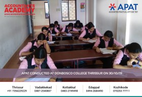 Explore the opportunities in Accounting. APAT conducted at Don Bosco College Thrissur on 30th October.