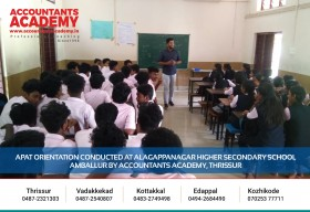 Sharing new visions with them.  APAT Orientation Conducted at Alagappanagar Higher Secondary School, Amballur by Accountants Academy, Thrissur