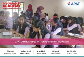 Not everyone becomes an Accountant. But those who are willing to put effort will most definitely become one. APAT conducted at Vattenad GHSS on October 18th, 2019.
