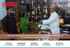 New MOU sighned between Accountants Academy Thrissur& St.Aloysius college Elthuruth