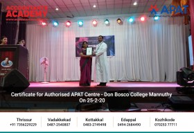 We truly appreciate the valuable time and effort you have invested in the successful completion of APAT. Certificate for Authorized APAT Centre- Don Bosco College Mannuthy on 25th February 2020.