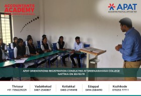 Embark on the mission of becoming an inspiring Accountant. APAT Orientation & Registration conducted at Sree Narayana College Nattika on 30th October.