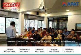 Learn the aspects of GST inside out! Training on GST at Accountants Academy, Calicut on 9th January 2020.