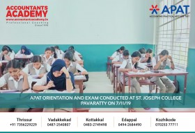 Set your goal to become an Accountant with Accountants Academy. APAT Orientation and Exam conducted at St.Joseph College Pavaratty on 7th November.