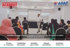 Bonding With Numbers! Training on how to finalize the Financial Accounts at Accountants Academy, Thrissur on 18th January 2020.